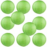 WYZworks Round Paper Lanterns 10 Pack (Green, 10'') - with 8'', 10'', 12'', 14'', 16'' option