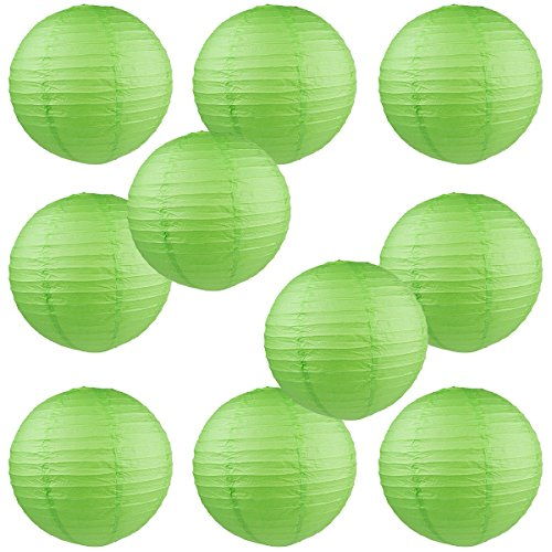 WYZworks-Round-Paper-Lanterns-10-Pack-Green-10-with-8-10-12-14-16-option