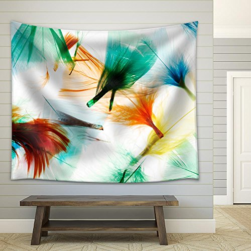 Colorful Feathers Fabric Wall