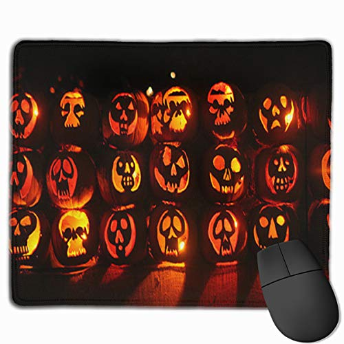 XYi Scary Halloween Pumpkin Dacron Mouse Pad, Halloween Patterned Mouse Pad, 11.8X9.8 Inches, Durable and Comfortable, Non-Slip, Relieve Pain at Home Or at Work