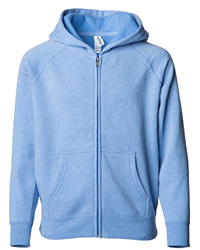 Global Blank Youth Lightweight Zip up Fleece Sky Blue Sweatshirt Hoodie for Boys and Girls L (Zipper Hoodie Juniors)