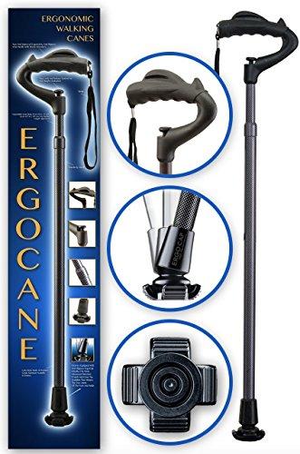Ergocane By Ergoactives. Fully-Adjustable Ergonomic Cane (Carbon/Checkers) (Carbon Fiber Cane)