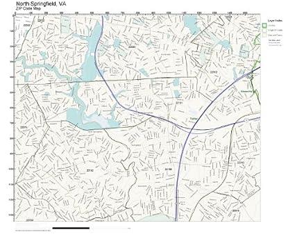 Springfield Va Zip Code Map.Amazon Com Zip Code Wall Map Of North Springfield Va Zip Code Map