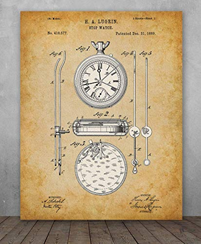 Poster - Stop Watch Patent Design Patent - Choose Unframed Poster or Canvas - Makes a Great Gift for Watch ()