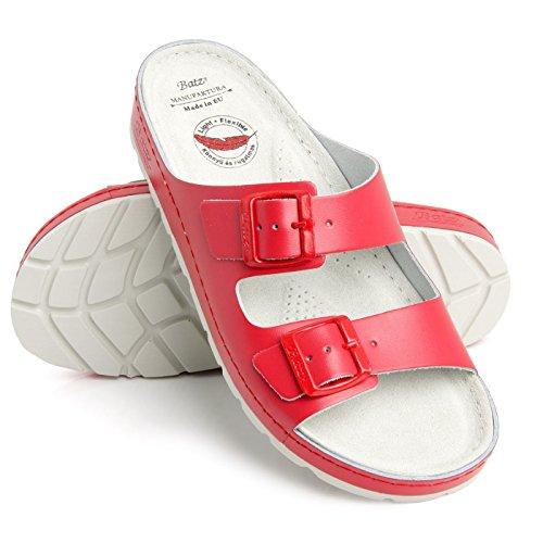 Rouge Mules Chaussons Léger Flexible Femme Sandales en et Qualité Batz Cuir de Supérieure ZENNA Sabots Chaussures 5YFx0WZq