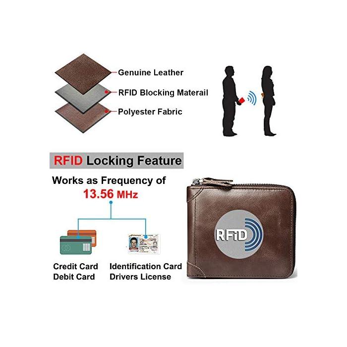 51b2oHS5WuL 1.Bloqueo RFID Tecnología: esta RFID cartera hombre pequeña está equipada con tecnología de RFID, que puede proteger su información personal; Faneam cartera de cuero para hombre está hecha de cuero original, el material es muy suave y tiene un diseño clásico. 2.Estructura Excelente: esta RFID billetera hombre pequeña viene con 1 bolsillo principal para efectivo, 8 ranuras para tarjetas(incluyendo 2 ventana de ID), Además, la cartera contiene un monedero con boton de acero inoxidable. El Faneam cartera hombre piel los hombres debe ser perfecto para sus necesidades diarias, especialmente cuando viaja. 3.Regalos Ideales para Hombres: las monedero hombre pequeño vienen con una exquisita caja de regalo; Le proporcionaría mucha comodidad, no las encontrará en muchas carteras. Regalo ideal para cualquier caballero como regalos en cumpleaños, San Valentín, Aniversarios, día del padre, día de acción de gracias, Navidad.