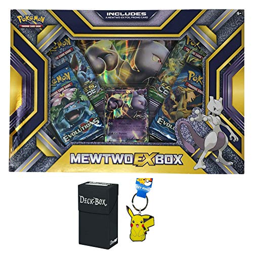 (Pokemon Mewtwo EX Box with Mewtwo EX Pokemon Card, Oversized Jumbo Mewtwo EX Card, 4 Factory Sealed Pokemon Booster Packs Bundle with Pikachu Keychain and Ultra Pro Deck Box - 3 Items)