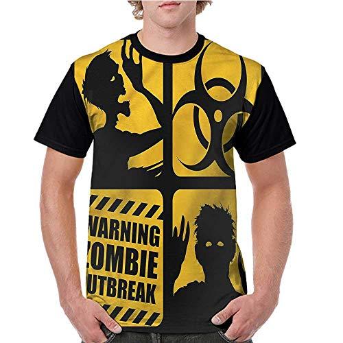 Lightly Men Summer Streetwear,Zombie,Toxic Sign Outbreak Warning S-XXL T Shirt Print Short Sleeve