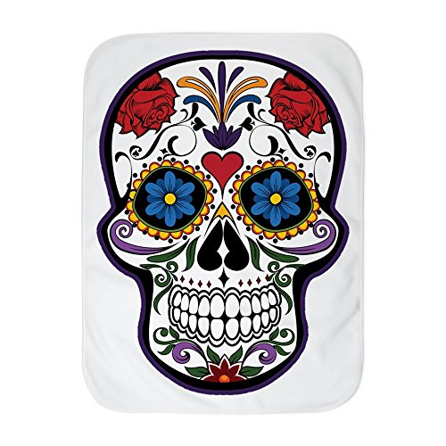Truly Teague Baby Blanket White Floral Sugar Skull Day of the Dead