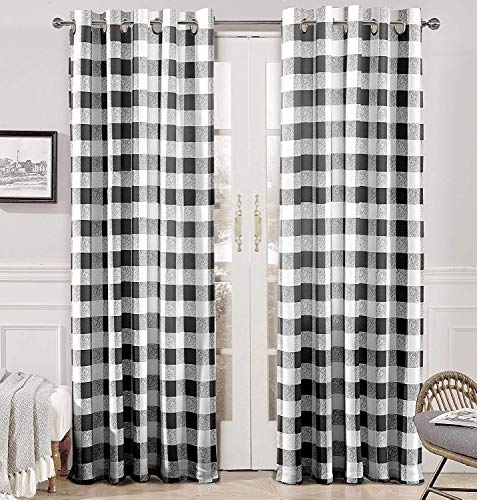 DriftAway Buffalo Checker Pattern Lined Thermal Insulated Blackout and Room Darkening Grommet Window Curtains Printed Plaid 2 Layer Set of 2 Panels 52 Inch by 84 Inch Black (Plaid Curtains)