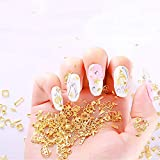 WOKOTO 6 Boxes Gold Metal Nail Studs Rose Star Moon Feather Nail Charm Kit 3D Nail Art Jewelry Decoration With 1Pc Tweezers And Picker Pencil