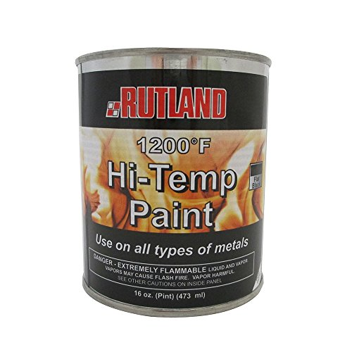 Rutland Products Rutland 1200-Degree F Brush-On Flat Stove Paint, 16 Fluid Ounce, Black (Pellet Stove Steel Brush)
