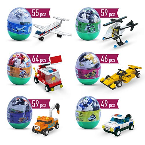 (Easter eggs filled with Building Brick blocks toys. 6 eggs each have different shape bricks and instructions to build an Airplane, police car, fire truck, helicopter, race car & construction)