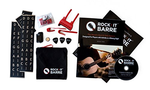 Rock-iT Barre Guitar Chord Device Advanced Plus Package w/Pinkie Attachments For Experienced Guitarists, W/Brown Stickers, Use On DARK & ALL INSTRUMENT NECKS (Red Device)