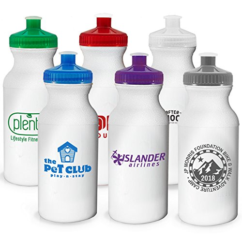 100 Promotional USA Made BPA Free Bike 20 oz Sports Water Bottle Printed with Your Logo Or Message