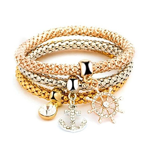 NOVADAB Trio Charm Bracelet, Bracelet for Women (Lets Go Sailing Charming Nautical Trio)