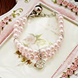 XDOBO 2 Rows Handmade Pink Pearls Rhinestones Pet Necklace Collar with Bling Diamond Fancy Dog Cat Jewelry Necklace S (pink)