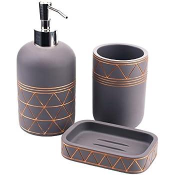 gray bathroom accessories set. Babylon Cement Bathroom Accessory Set 3 Pieces Soap Dispenser  Beaker Dish Satu Amazon com Acacia Wood Accessories Include