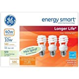 GE Lighting 68504 Energy Smart CFL 10-watt (40-watt replacement) 580 lumen soft white light bulb with medium base, 3-pack