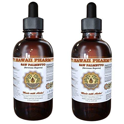 Saw Palmetto Liquid Extract, Organic Saw Palmetto (Serenoa Repens) Tincture, Herbal Supplement, Hawaii Pharm, Made in USA, 2x4 fl.oz by HawaiiPharm