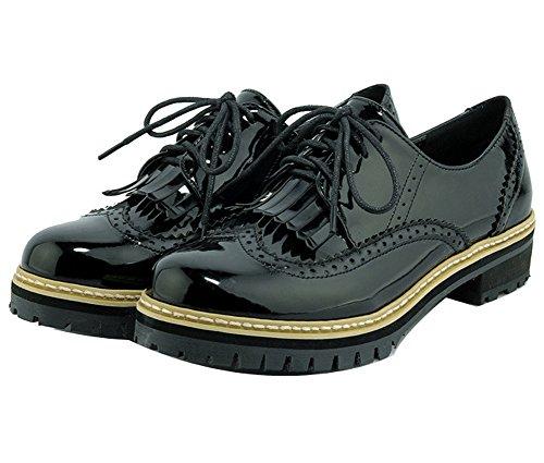 cordones Mujer con LadolaDkug00002 negro zapatos fqqSEaFzn