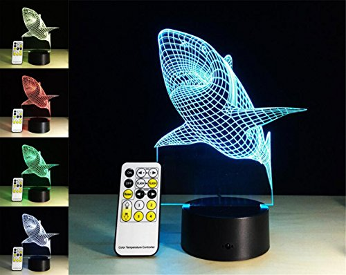 W-ONLY YOU-J Creative Shark 3D Optical LED Illusion Lamps 7 Color Flashing Art Sculpture Lights Bedroom Night Light best Gifts(Control (Flashing Rectangle Light)