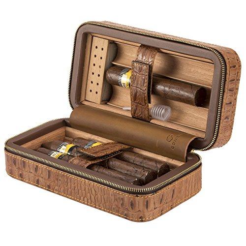 xifei portable crocodile grain cigar humidors cedar wood travel cigar humidor for 6 cigar - Cigar Humidors