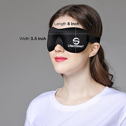 UtechSmart Sleep Mask, Deep Rest Contoured Sleep Eye Mask Cover Eyeshade with Ear Plugs Carry Pouch for Travel Naps