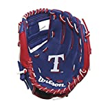 "Wilson A200 10"" Texas Rangers Glove Right Hand Throw, Royal/Red/White"