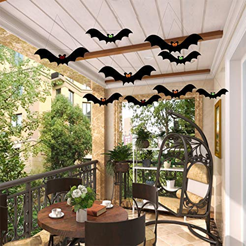 Hanging Black Bats - Outdoor Halloween Porch & Tree Yard Decorations - Halloween Party Decorations - 12 Piece Set