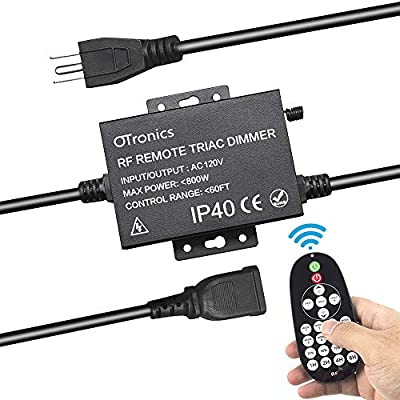 Otronics 800W Outdoor Dimmer for LED String Lights,Wireless Remote Control dimmer control,100Ft Range with 8 Brightness Mode, Memory Function