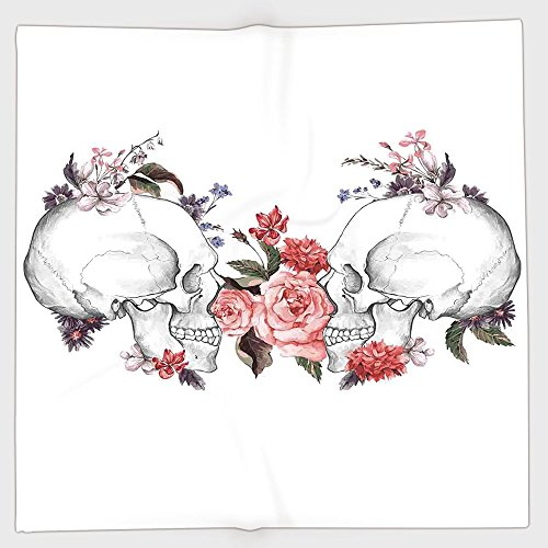 Cotton Microfiber Hand Towel,Gothic Decor,Roses and Skull Feast of All Saints Catholic Tradition Illustration Art Print,for Kids, Teens, and Adults,One Side Printing by iPrint