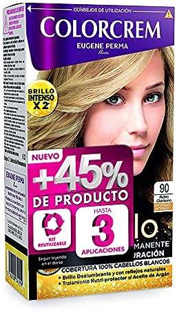 Colorcrem - Tinte permanente mujer - tono 90 Rubio Clarisimo, con tratamiento nutri-protector al aceite de Argán. + 45% de producto | Disponibile en ...