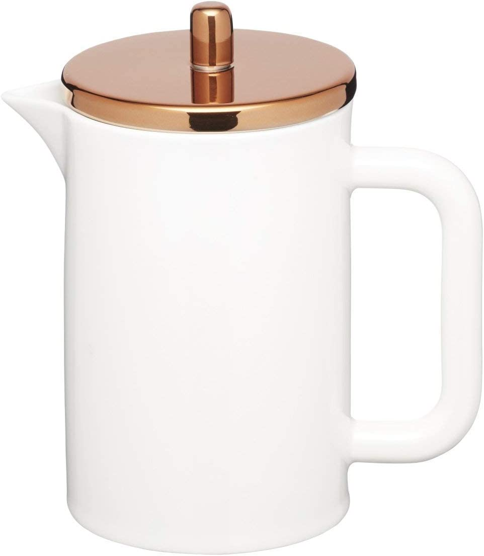 KitchenCraft Le Xpress Bone China Porcelain 6-Cup Cafeti re with Copper-Effect Lid, 800 ml 1.5 pints White