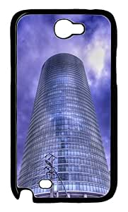 Samsung Galaxy Note 2 Case and Cover - Curved Blue Building PC Case for Samsung Galaxy Note 2 / N7100 Black