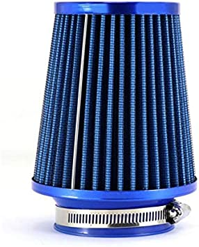"""BLUE UNIVERSAL 3/"""" 76mm SMALL AIR FILTER FOR SATURN//CHEVY SHORT//COLD AIR INTAKE"""