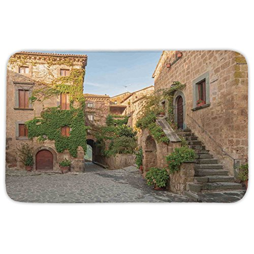 Rectangular Area Rug Mat Rug,Tuscan,Village Houses With Colorful Flowers Outside in Burano Village Venice Italy Image,Ivory Green,Home Decor Mat with Non Slip Backing by iPrint