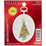 Janlynn 21-1062 Cross-Stitch Retro Tree Mini Counted Kit-2-1/4-Inch X 2-3/4-Inch Oval 18 Count