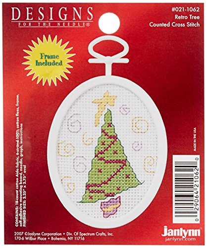 Janlynn Retro Tree Mini Counted Cross Stitch Kit-2-1/4 X2-3/4 Oval 18 Count ()