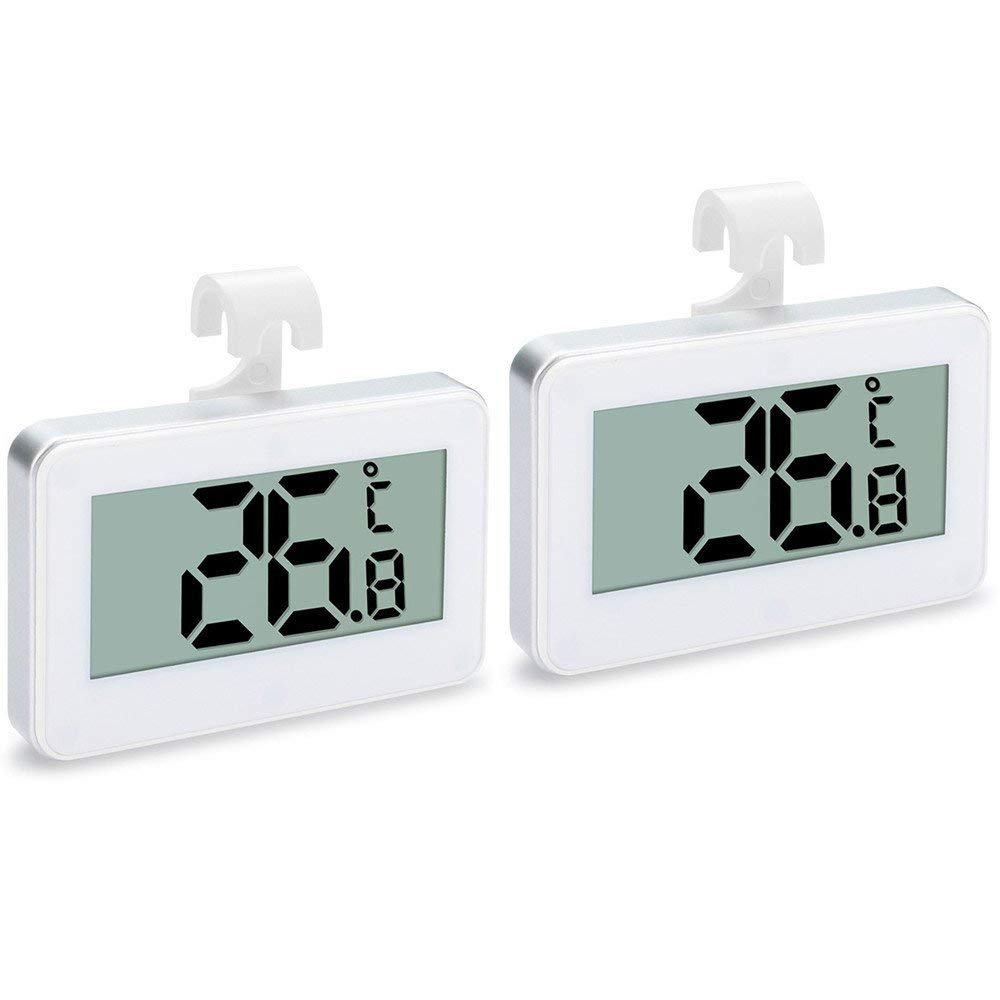 Upgraded 2-Pack Digital Refrigerator Thermometer, IPX3 Waterproof Wireless Freezer Room Temperature Monitor with Hook, Large LCD Easy to Read Display & Max/Min Record Function for Indoor/Outdoor Zezhou Z-FT