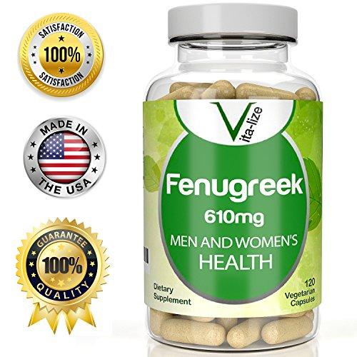 ALHOLVA por Vita-lize: #1 mejor suplemento de alholva - 120 cápsulas vegetarianas - 610mg de extracto de polvo de semillas de
