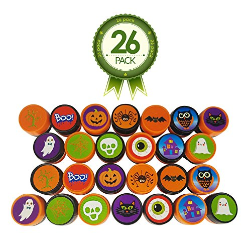 Halloween Stamps – Full 26 Piece Variety Pack With 13 Unique Stamp Designs – Ideal for Holiday Craft Stampers - Creative Kit for Science Fair (Kids Halloween Spider Crafts)