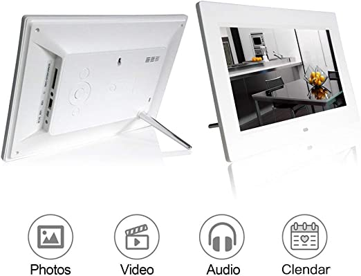Advertising Media Player with a High Definition 1024/×600 LED Screen with Remote Control,Support Calendar Alarm Function Mengen88 10.1 Inch Digital HD Picture Frame