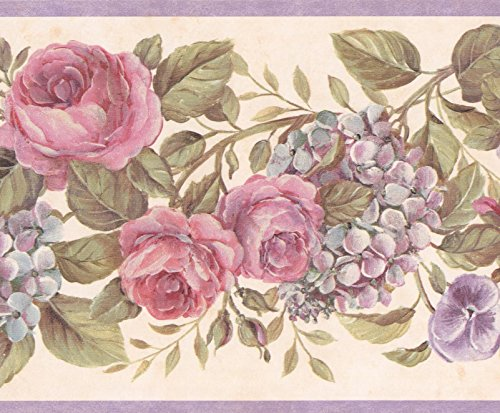 Blooming Purple Roses on Vine Floral Wallpaper Border Retro Design, Roll 15' x 6.75'' ()