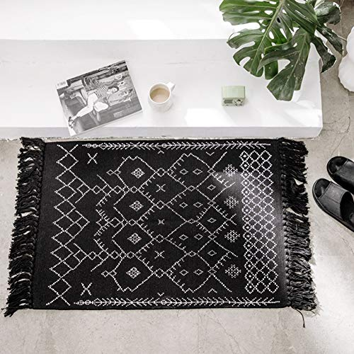 idee-home Cotton Craft Handwoven Chindi Rug 2x3 Feet - Reversible Tassels Knot Rag Rug for Sofa Bedroom Living Room Bathroom, - Runner Craft Rug