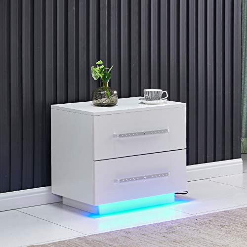 4HOMART Beside Table 2 Drawers High Gloss Nightstand Cabinet Side Table End Table with LED Light for Bedroom
