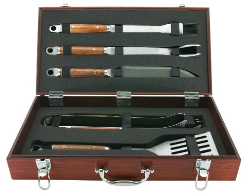 Mr Bar B Q 02136X PD Forged 5-Piece Set in Wood Carrying Case by Mr. Bar-B-Q