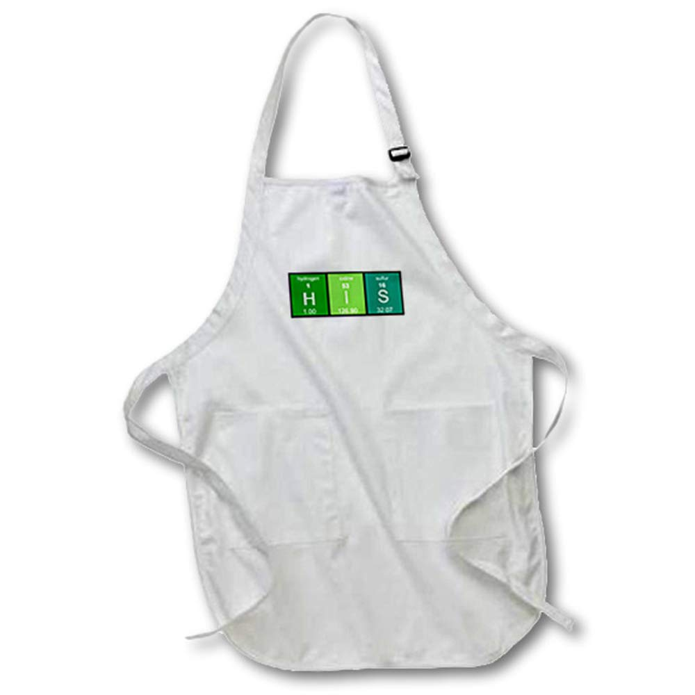 3dRose Green His in Periodic Table of Elements Symbols Half of His and Hers Apron 22 x 24