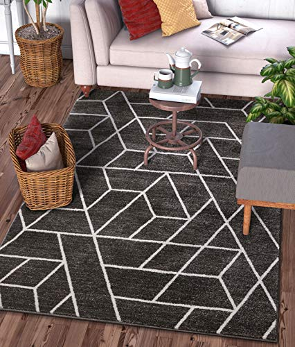 Well Woven Plaza Geometric Grey Modern Lines Angles Tiles Shapes Accent Area Rug 4x5 (3