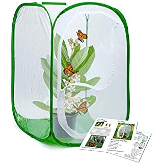 RESTCLOUD Insect and Butterfly Habitat Cage Terrarium Pop-up 24 Inches Tall, Polyester Bottom for Easier Clean